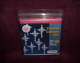 Crystal Crosses--Christmas Ornament--Beading KIT--From The Beadery--Will Make 24 Crosses--Unused
