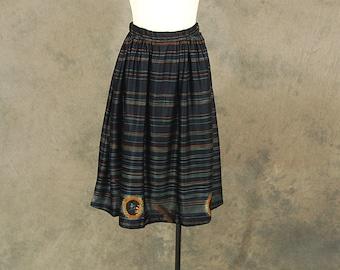 CLEARANCE SALE vintage 70s Midi Skirt - 1970s Black Pin Striped Full Skirt Sz S