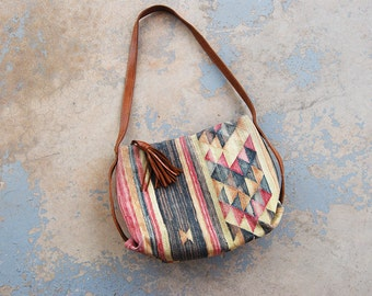 vintage 80s Kilim Purse - 1980s Ethnic Tapestry and Leather Shouder Bag Hobo Bag