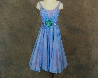 vintage 60s Party Dress -  Marbled Blue Pink Chiffon Cupcake Dress - 1960s Formal Dress Evening Gown Sz S