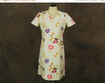 48 Hr SALE vintage 60s Dress - 1960s Mod Floral Shift Dress Sz L