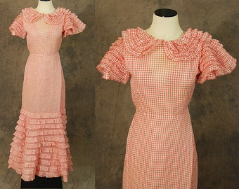 vintage 30s Evening Gown - 1930s Ruffle Maxi Dress 1930s Sheer Red Gingham Dress Sz XS