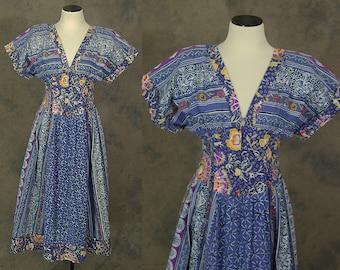 vintage 80s Dress - 1980s Boho Blue Patchwork Dress Batik Sun Dress Sz S
