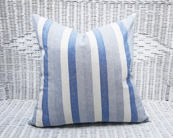 Beach House Pillows, Blue White Striped Pillow Covers, Blue White Pillows, Cottage Chic Decor, Gift for Her, 18x18