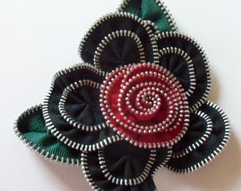 Black and Red Floral Brooch / Zipper Pin - Approx 4 in / 10 cm - by ZipPinning - 2987