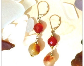 Carnelian & Jasper Earrings w/ Gold  fill Lever backs