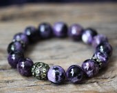 Charoite Peridot Diamond Pave Statement Bracelet / Natural Gemstone, Luxury Jewelry, Bohochic Bohemian, Boho Beaded Bracelet, Boho Jewelry