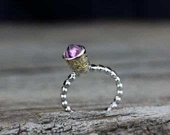 Rhodonite Garnet Gold Crown Ring, Boho 14K Gold Ring, Sterling Statement Ring, Stacking Ring, Spike Ring, Pink Gemstone, Royal Ring, For Her
