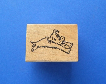 Dog Puppy Running or Lying Down Small Vintage Rubber Stamp Never Stamped