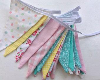 Long Pastel bunting, pastel fabric garland, 30 flags long, 20ft inc ties, nursery, baby shower, bedroom, parties.