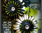 Hair Barrette: Dead Girl Decay -  Jack Skellington Tim Burton Nightmare Before Christmas Flowers Feathers Handmade Accessory