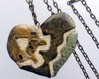 Gear Heart Mosaic Tile Necklace Pendant Green Gray and Bronze