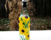Dish Soap Dispenser,  Recycled Clear Beer Bottle, Painted Glass, Oil and Vinegar Bottle, Sunflowers