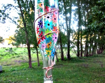 Hummingbird Feeder,  Recycled Clear Wine Bottle, Hand Painted with Colorful Flowers, Bird Feeder, Wrapped in Copper Wire