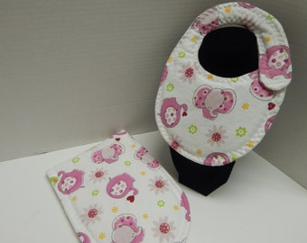 Newborn Baby  Bib and Burp Cloth Set GIRL Elephants