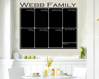 Custom Chalkboard Weekly Calendar Fancy