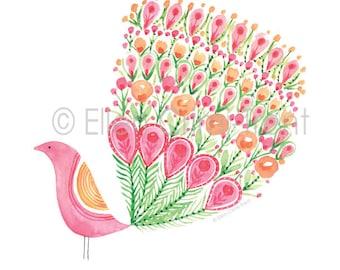 Watercolor Pink Peacock/Watercolor Baby decor/Pink Watercolor Art/Pink baby art/Girls Wall art/Girls Nursery Decor