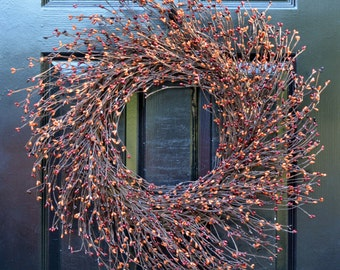 Pip Berry Wreath- Fall Wreath- Halloween Wreath- Autumn Decoration- Front Door Wreath- Berry Wreath- Autumn Wreath- Year Round Wreaths