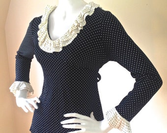 Vintage 1970's Black and White Polka Dot Tunic Top