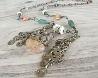 Tribal Bohemian Necklace, Crystal Necklace, Handmade, Eclectic, Beaded Chain, with Mystic Quartz and Roman Glass