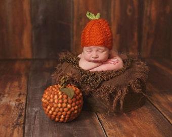 Newborn Knit Cabled Pumpkin Beanie Photo Prop Made to Order