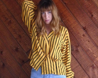 extra 30% off SALE ... Yellow and Black Striped Dolman Sleeve Blouse - Vintage 80s - LARGE L