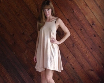30% off ... Beige Cotton Marble Dyed Babydoll Tank Dress - Vintage 90s - SMALL S