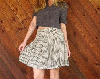Brown Plaid Mini School Girl Skirt - Vintage 90s - S M
