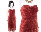 Vintage 1930s 40s Party Dress Strapless Red Handmade Lace Dress Size XS