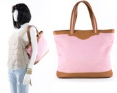Maurizio Taiuti Italian Tote Tote Pink Canvas and Leather Purse Made in Italy Shoulder Bag