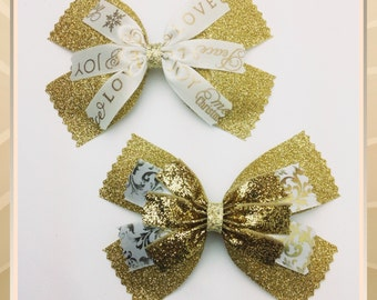 Large Gold Glitter and white Hair Bows Boutique Hair Clips Set of 2 Holiday Ribbons Girls Teens Rockabilly Fashion Accessory Kids Hairbows