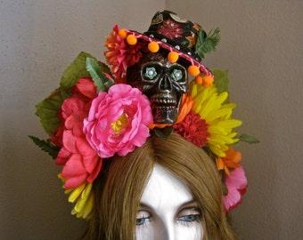 Day of the Dead Headpiece Skull HEADBAND Guapo Novio Mexican Hat Frida Kahlo Crown Colorful Bright Flowers Huge Statement Dio de las Muertos