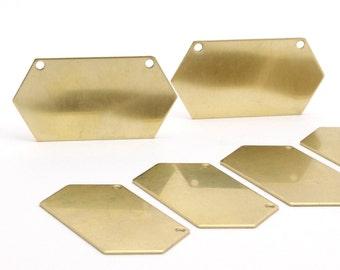 8 Raw Brass Hexagon Blanks (23x44.5x0.80mm) D425
