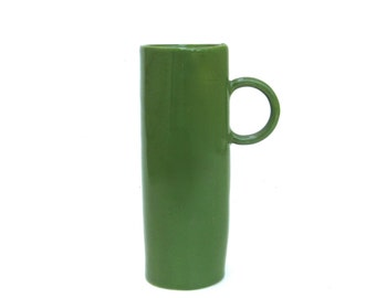 tall cup   ...   whimsical  hand built  porcelain cup   ...   green