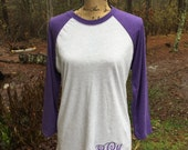 Monogrammed raglan T.  Monogrammed Baseball Tshirt.  3/4 Length sleeve.  Purple Raglan Shirt. S, M, L, XL, XXL
