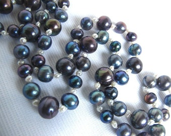 SALE,Black Cultured Pearl Necklace,Long Strand High Luster Peacock Blue and White Pearl Strand,Colorful Pearl Statement Layering Necklace