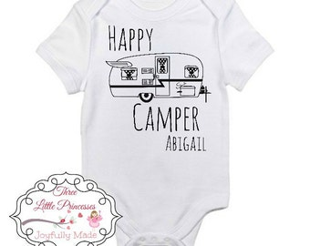 Happy Camper Kids Tee or Bodysuit, Childrens Apparel, Camping Apparel