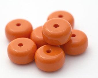 Vintage Opaque Orange Lucite Spacer Beads 21mm (8)