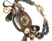 tigeriron statement bracelet brown pearls cloisonne donut cluster drop