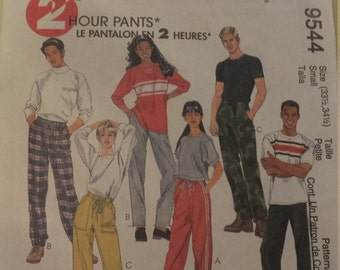 McCall's 2 Hour Drawstring Pants Pattern 9544 Size small
