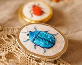 Hand Embroidered Tortoise Beetle Brooch Pin Natural History Entomology Woodland Wildlife Jewelry Textile Fiber Art Nature Lover
