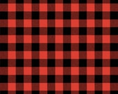 gingham fabric | calico | red grey + black plaid | BTY 100% cotton | checkerboard | picnic | plaid shirts camping | Penny Rose Fabrics 5154