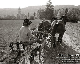 Oliver's HORSE DRAWN PLOW, Clyde Keller Photo, Fine Art Print, toned Black and White, Signed, vintage 1977 image, Treasury