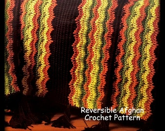 Crochet Afghan Pattern - Reversible - Instant Download PDF Pattern No. 01086780 - Not A Finished Afghan