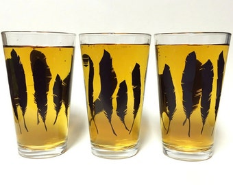Feather Pint Glass | Black