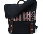 Waxed Canvas Backpack / Black Wax Canvas & Vintage Ikat Cotton SALE