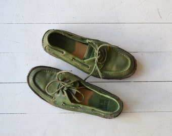 Frye leather loafers | green leather shoes | leather deck shoes 6.5