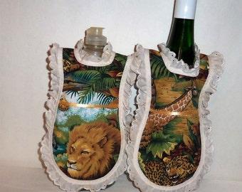 Dish Soap Apron, Wine Bottle Cover, Eyelet Lace, Kitchen Decor, Jungle Animals, Bottle Apron, Lotion Cover, Detergent Cover