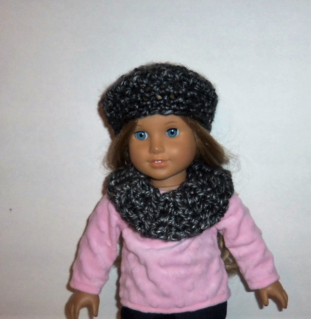 american made doll hat cowl neck scarf black gray