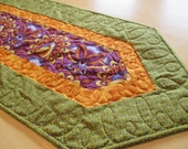 Art Deco Table Runner , Purple And Green Table Runner , Quilted Table Runner